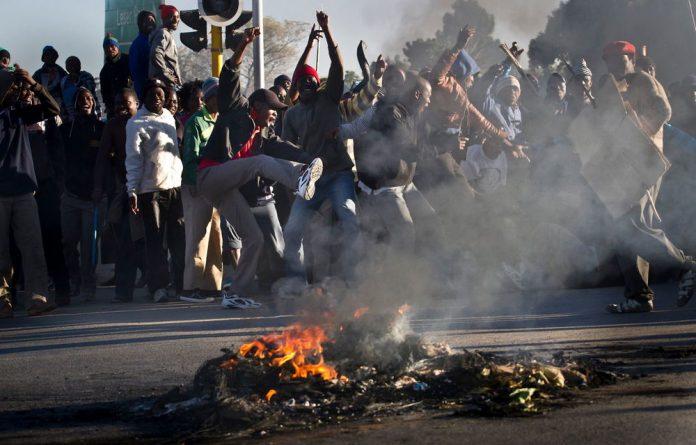 Zandspruit residents protesting over poor service delivery.
