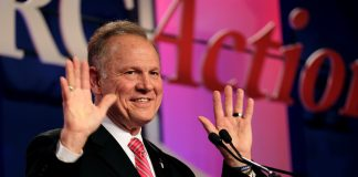 Former Alabama Supreme Court Chief Justice Roy Moore speaks at the Values Voter Summit of the Family Research Council in Washington