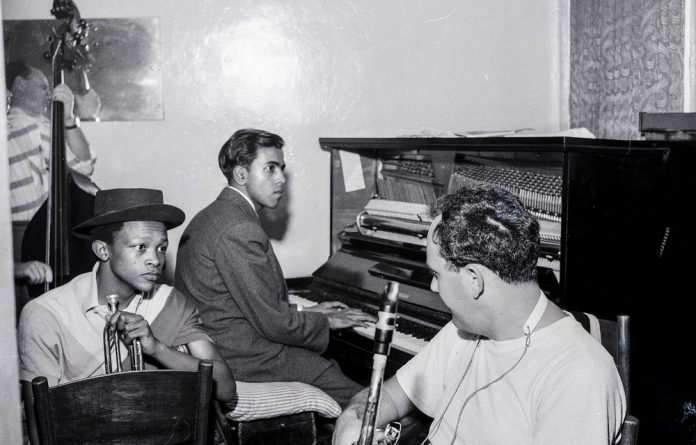 Early days: A young Hugh Masekela with Lionel Pillay on piano rehearsing in the early 1960s