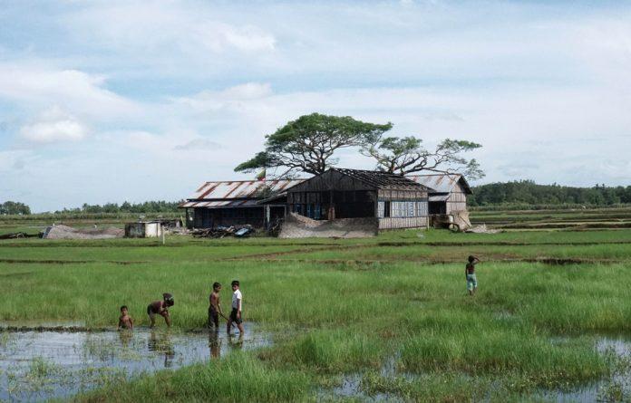 Muslim children playing in the field in Kyar Gaung Taung village in Maungdaw township in Rakhine state.