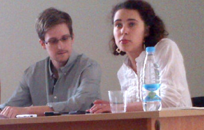 Wikileaks representative Sarah Harrison and Edward Snowden.
