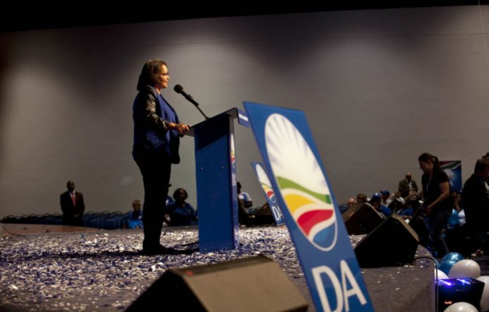 Cape Town mayor Patricia de Lille accepts the nomination as new leader of the Democratic Alliance in the Western Cape on Saturday.
