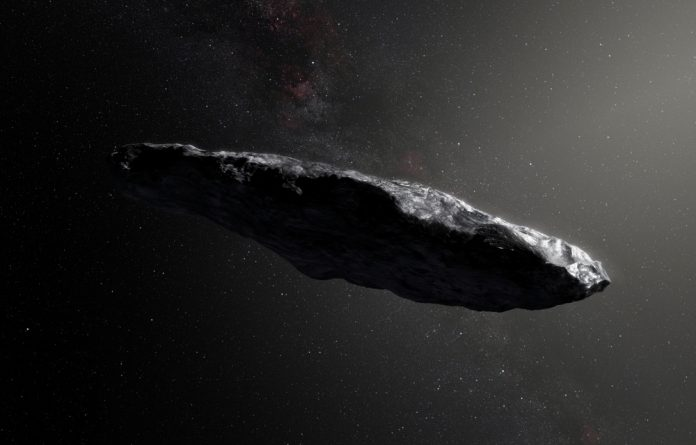 This artist's impression shows the first interstellar asteroid