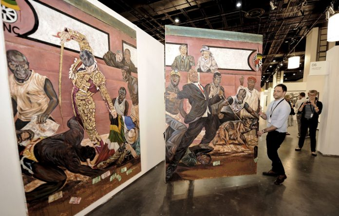 The collision of commercial interests of art fairs and the activism of artists dealing with contemporary issues was illustrated when Ayanda Mabulu's painting was briefly removed at the 2013 Joburg Art Fair