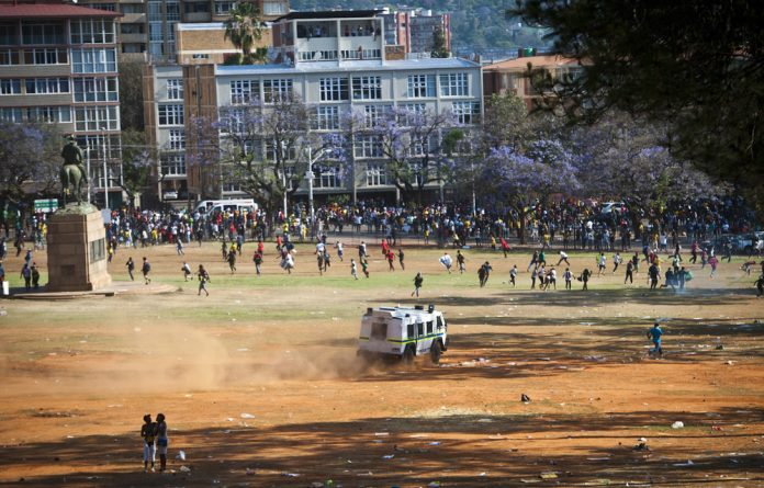 Student protests at the union buildings earlier this year.
