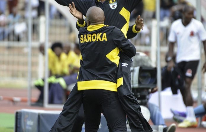 That winning feeling: Baroka coach Kgoloko Thobejane celebrates a goal during the Nedbank Cup quarterfinal against Polokwane City.