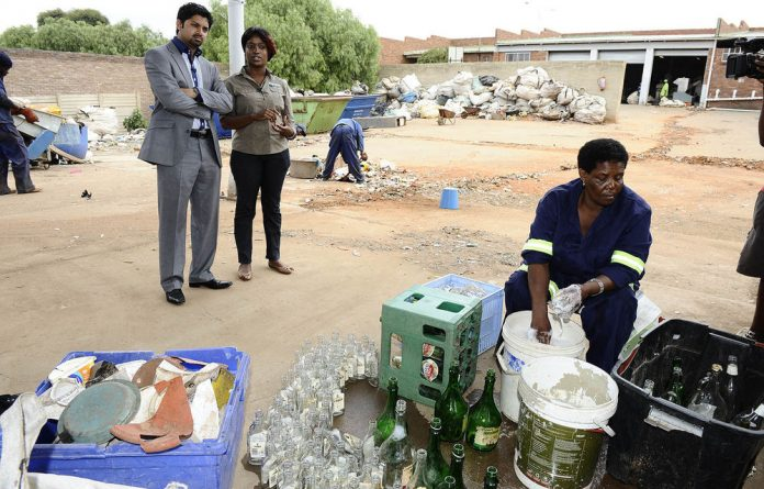 NYDA executive chairperson Yershen Pillay is shown around Zondi Buy Back Centre in Soweto.