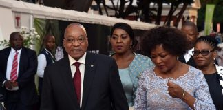 President Jacob Zuma and Baleka Mbete arrive for the 2016 State of the Nation address.