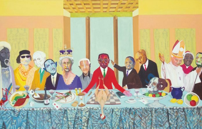 Richard Mudariki 'The Passover' draws on Da Vinci's 'The Last Supper'. It's Robert Mugabe's last supper and at his table are figures such as Nelson Mandela