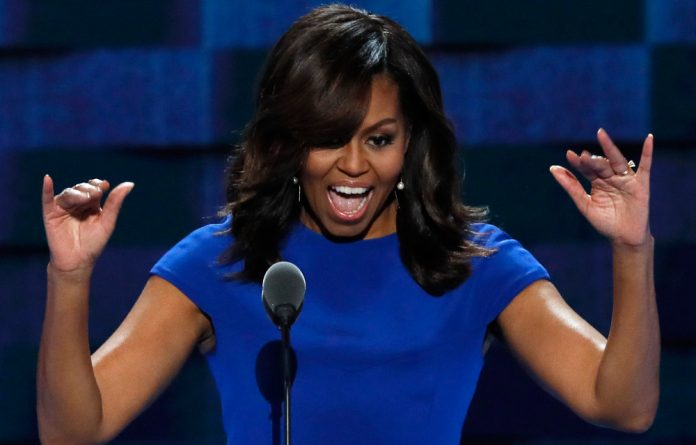 US first lady Michelle Obama speaks at the Democratic National Convention in Philadelphia