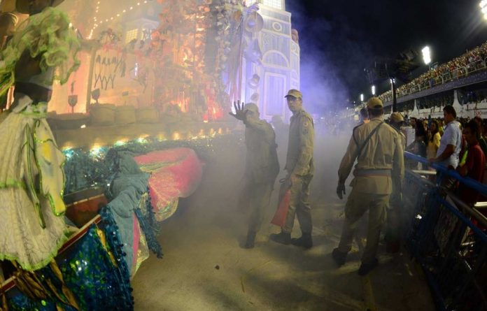 Firefighters had to put out a fire on a carnival float.