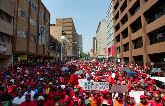 Cosatu marched in Johannesburg in 2015. The labour federation plans to hold 13 marches in South Africa on Wednesday and has called on all employed people to join them. The marches are protected.