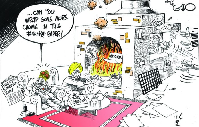 A cartoon by Kenyan political satirist Godfrey Mwampenbwa. Also known as 'Gado'