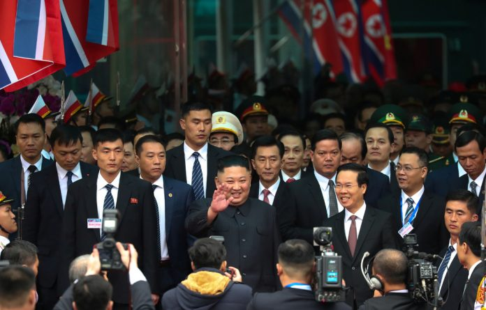North Korea's leader Kim Jong Un arrives at the Dong Dang railway station