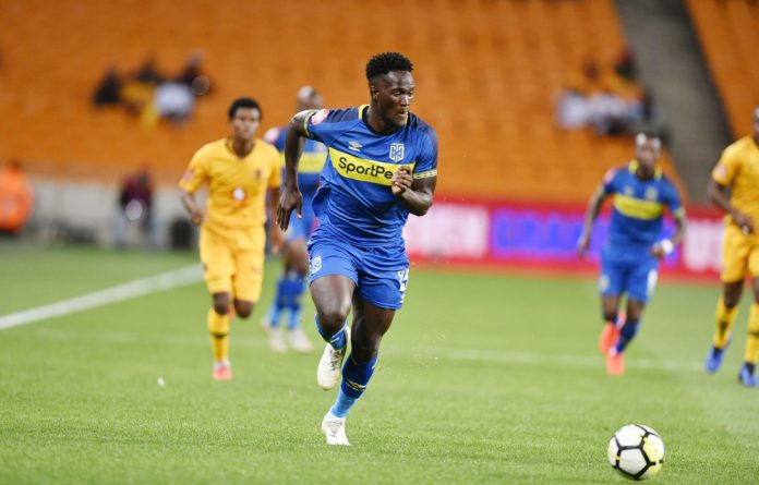 Siphelele Mthembu of Cape Town City FC during the Absa Premiership match between Kaizer Chiefs and Cape Town City FC at FNB Stadium on January 30.