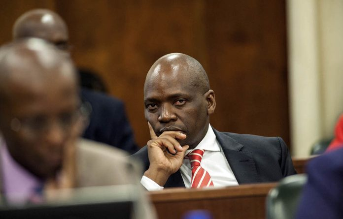 Hlaudi Motsoeneng at an SABC presentation to the communications portfolio committee in Parliament in March 2015.