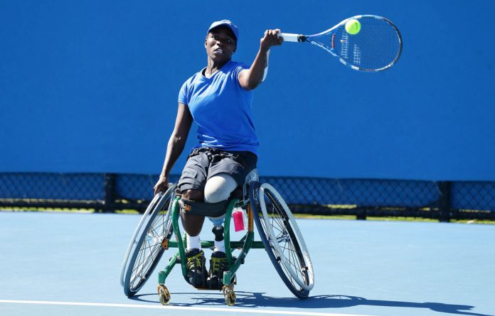Focused: World wheelchair tennis number five Kgothatso Montjane raised her own sponsorship to get to Wimbledon.