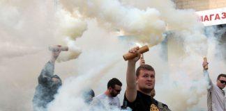 Fans of Ukrainian Football Club Metalist and Football Club Dnipro