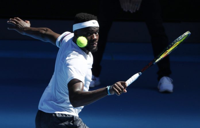Frances Tiafoe of the U.S. in action during the match against Bulgaria's Grigor Dimitrov.