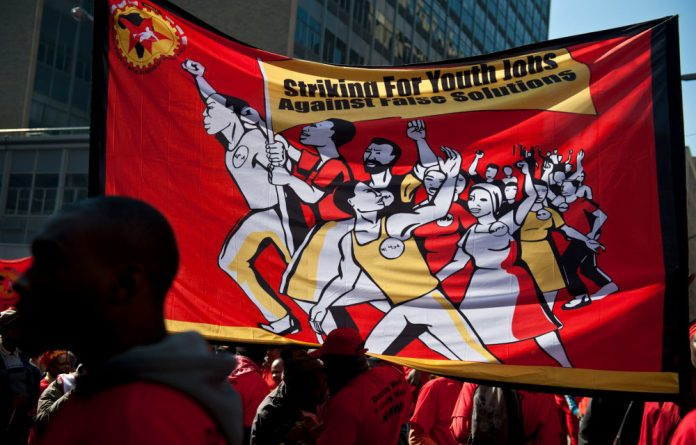 Numsa marches in central Johannesburg to demand salary increases.
