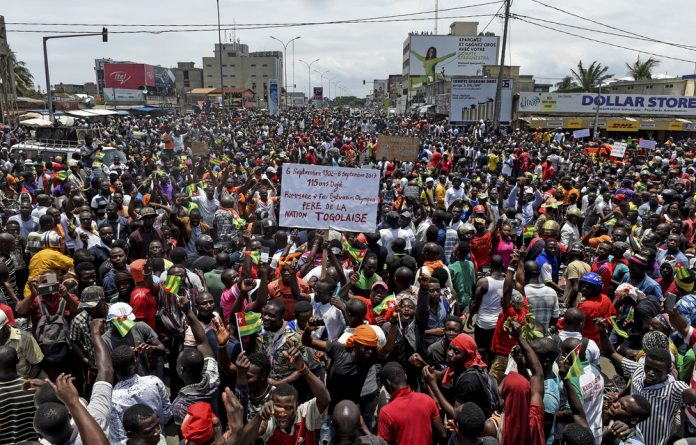 Togolese call for constitutional reforms during an anti-government rally in the capital Lomé on September 6
