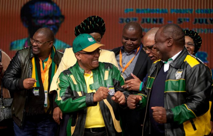 President Jacob Zuma and Cyril Ramaphosa on the last day of the ANC's policy conference.