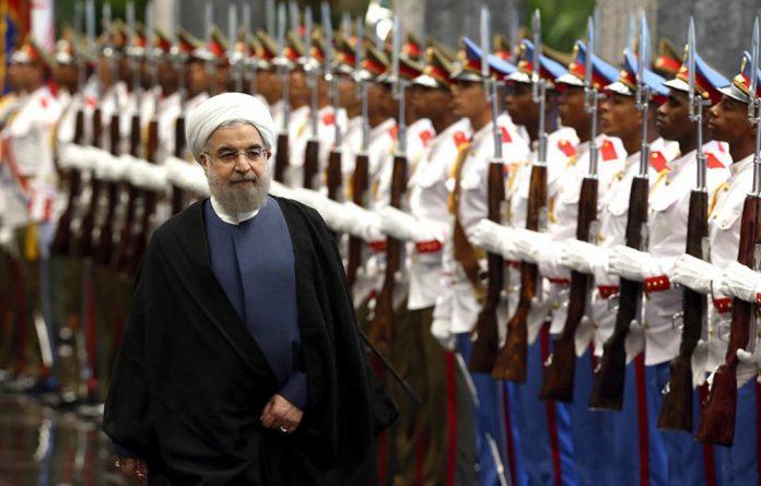 Iranian President Hassan Rouhani at Revolution Palace in Havana