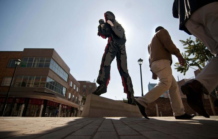 The good fight: Marco Cianfanelli's Shadow Boxing portrays Nelson Mandela as a pugilist.