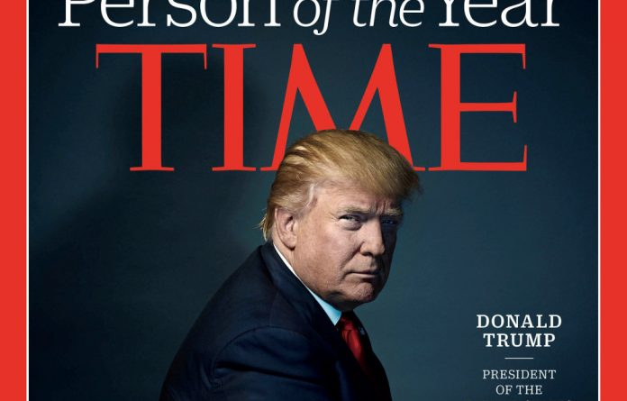 United States president-elect Donald Trump on the cover of Time Magazine after being named its person of the year.