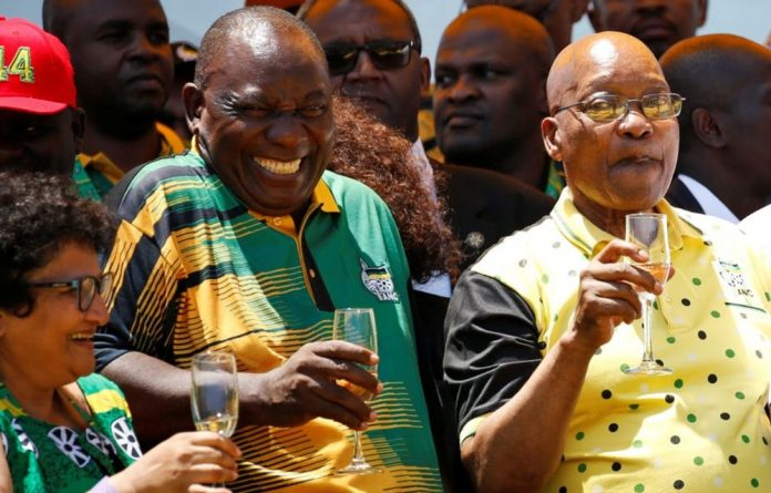 ANC President Cyril Ramaphosa celebrates the party's 106th anniversary with its deputy general secretary Jesse Duarte and president of South Africa Jacob Zuma.