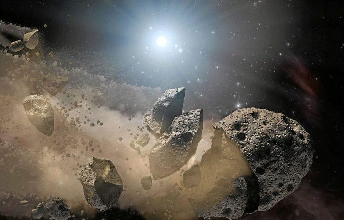 An asteroid falling apart. This type of impactor can result in a chain of smaller craters rather than one large crater.