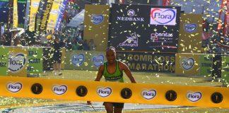 Claude Moshiywa wins the Comrades Marathon on Sunday.