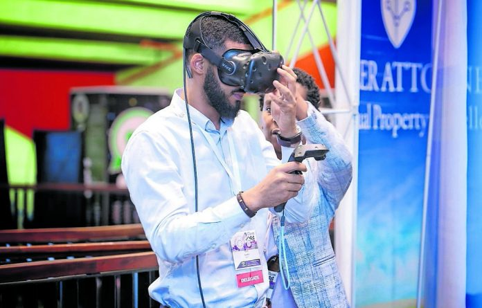 Virtual Reality headsets provide simulations at the 2018 South African Innovation Summit