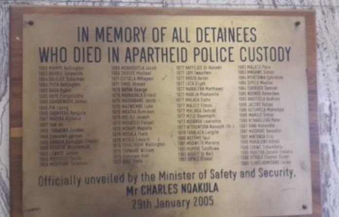 A plaque at JHB Central Police Station commemorating all the people who died in detention during apartheid. Included in the list of names is Ahmed Timol and Bantu Stephen Biko.