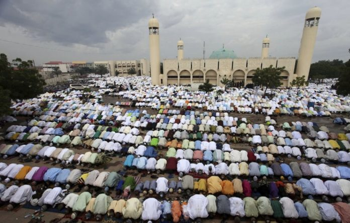 Muslims pray at the Kofar Mata Central Mosque in Kano