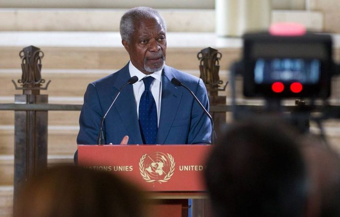United Nations special envoy for Syria Kofi Annan delivers a statement to the media after addressing the UN Security Council in New York.