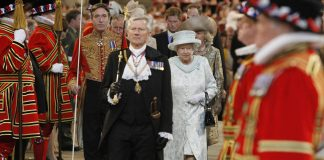 Britain's Queen Elizabeth II leaves Westminster Hall in London after a Diamond Jubilee Luncheon given for The Queen.