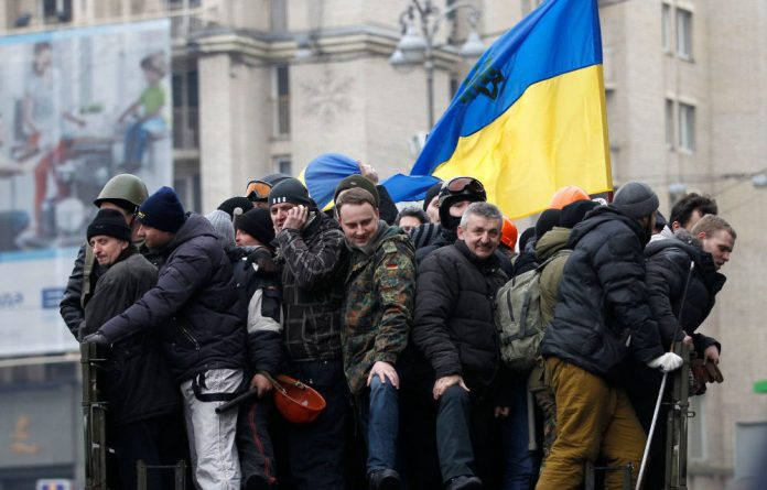 Anti-government protesters in Independence Square in Kiev