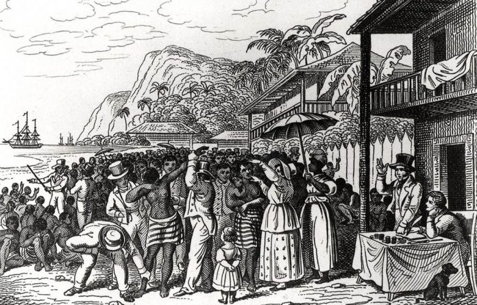 A slave market in Martinique. Texaco is about a Martinican family from the days of slavery to the late 1980s.