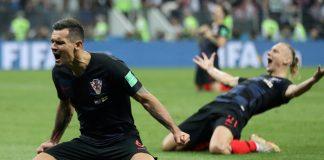 Croatia's Dejan Lovren and Domagoj Vida celebrate after the match