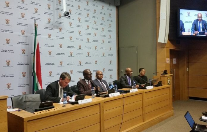 Finance Minister Malusi Gigaba and the Treasury team during their media brief.