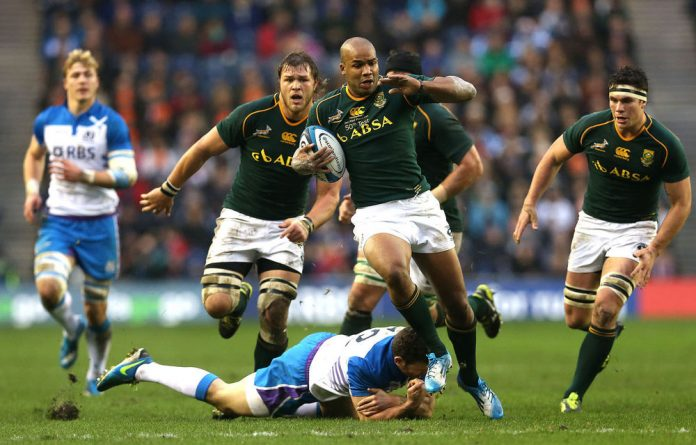 The Springboks scored their first try from a line-out drive in the fifth minute