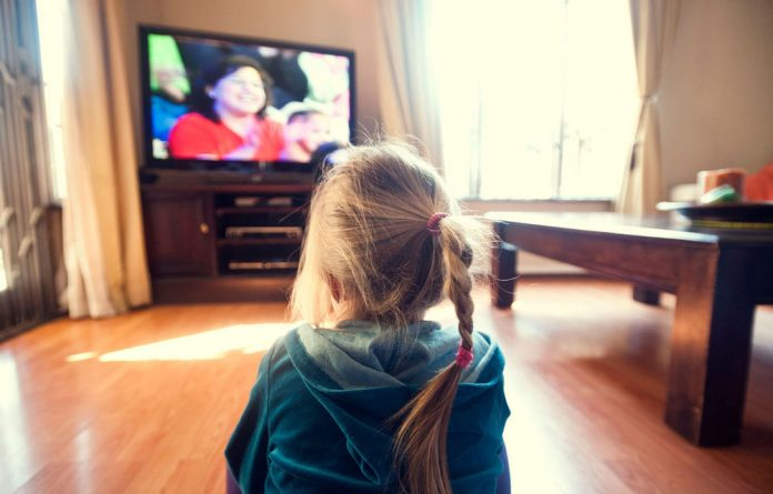 A child watches television.