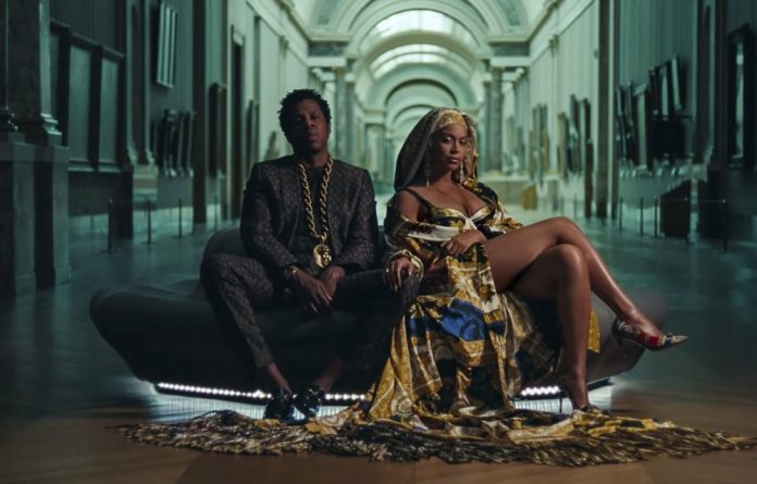 Filling the frame: Power couple Jay Z and Beyoncé filmed their latest music collaboration in the Musée du Louvre