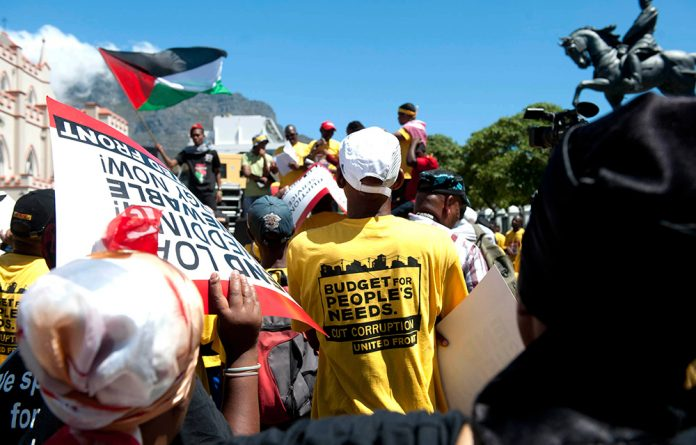 United Front members protested outside Parliament ahead of Finance Minister Nhlanhla Nene's budget speech