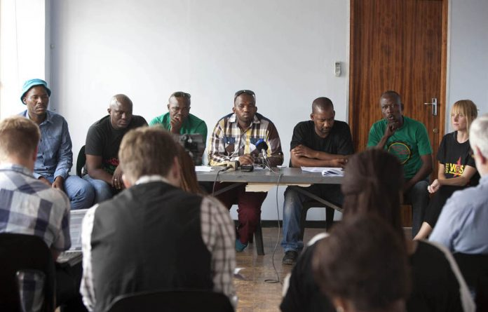 Amcu shop stewards from left to right: Julius Mralathia
