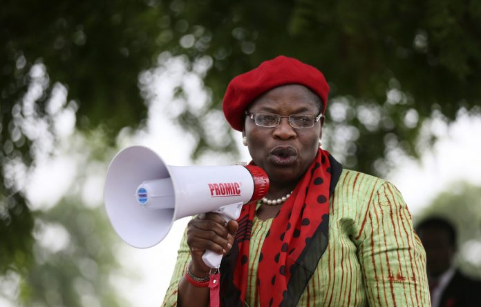Loud and clear: Obiageli Ezekwesili addresses a protest calling for the release of the abducted Chibok girls in 2014.