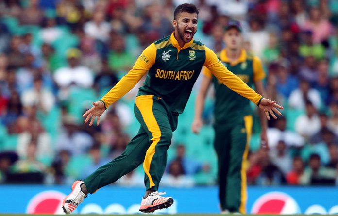 South Africa's JP Duminy celebrates after he dismissed Sri Lanka's Tharindu Kaushal for a duck.