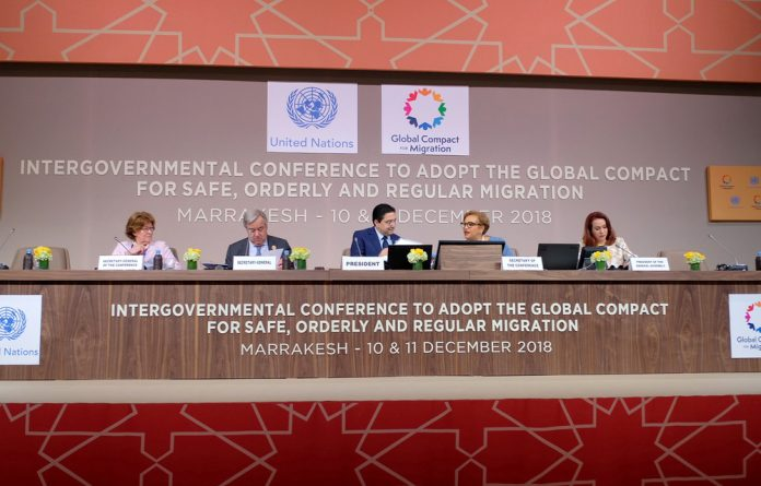 U.N. secretary general Antonio Guterres attends the Intergovernmental Conference to Adopt the Global Compact for Safe