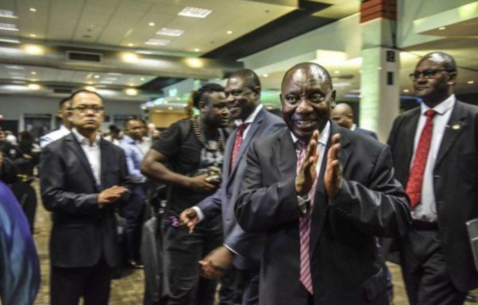 President Cyril Ramaphosa arrives for the ANC's gala dinner
